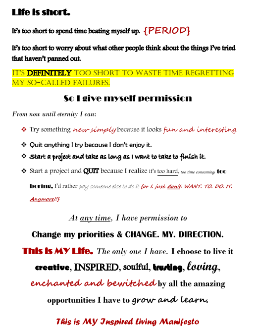 Inspired Living Manifesto via beingisaverb.com